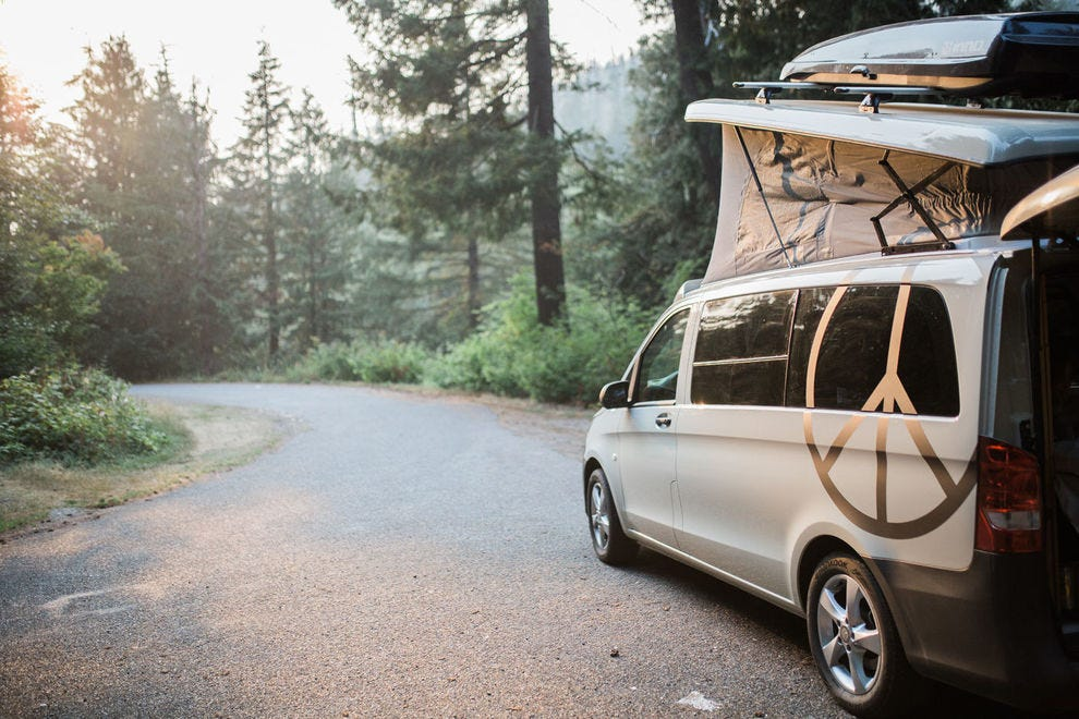 """Peace Vans allows folks to """"rent a one-of-a-kind ride with the throwback vibe of a pop-top and the benefits of a brand-new Mercedes vehicle"""""""