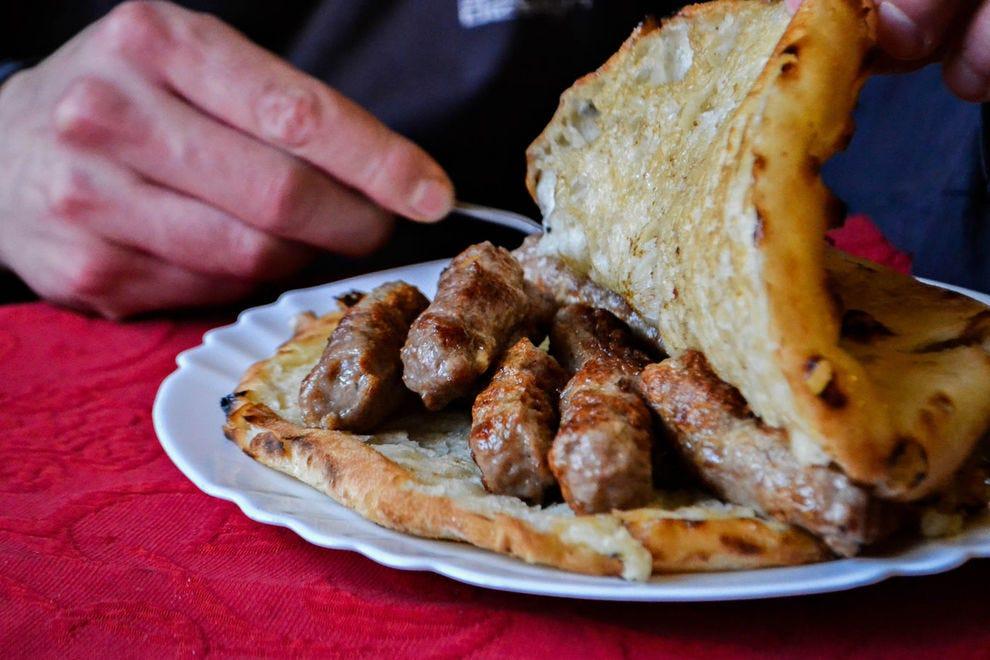 Cevapi (meat in bread) is a traditional Bosnian dish