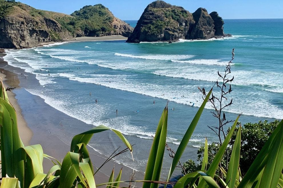 The views of Piha's surf break from the top of Lion Rock