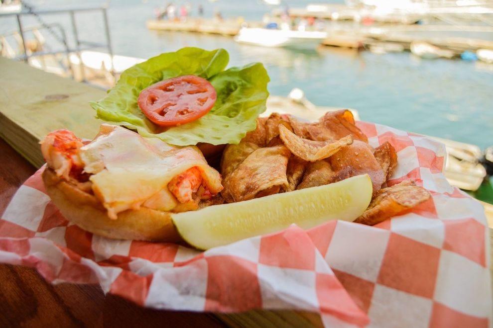 Lobster burger at Beal's Lobster Pier