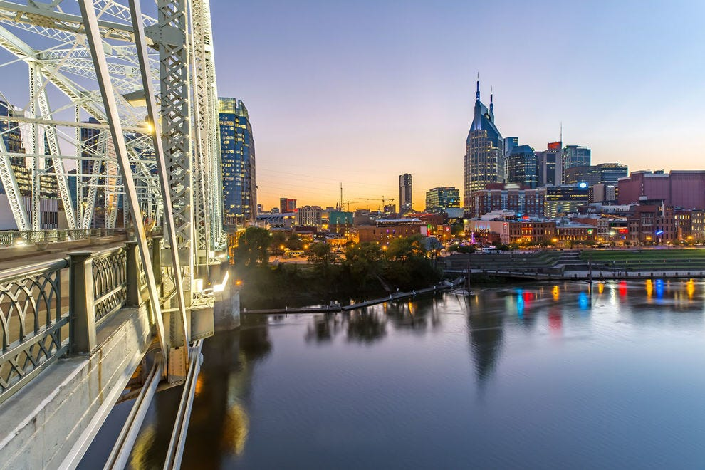 Enjoy views of the glittering Nashville skyline from the bridge