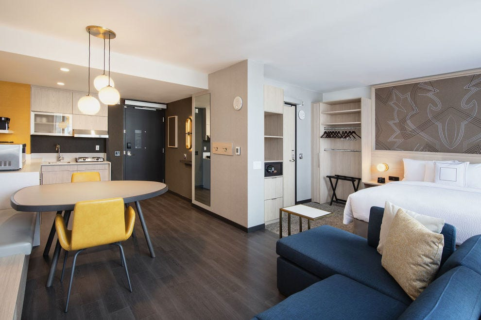 In Calgary, the Residence Inn Studio Queen with sofa bed makes for an inviting and luxurious home-away-from-home