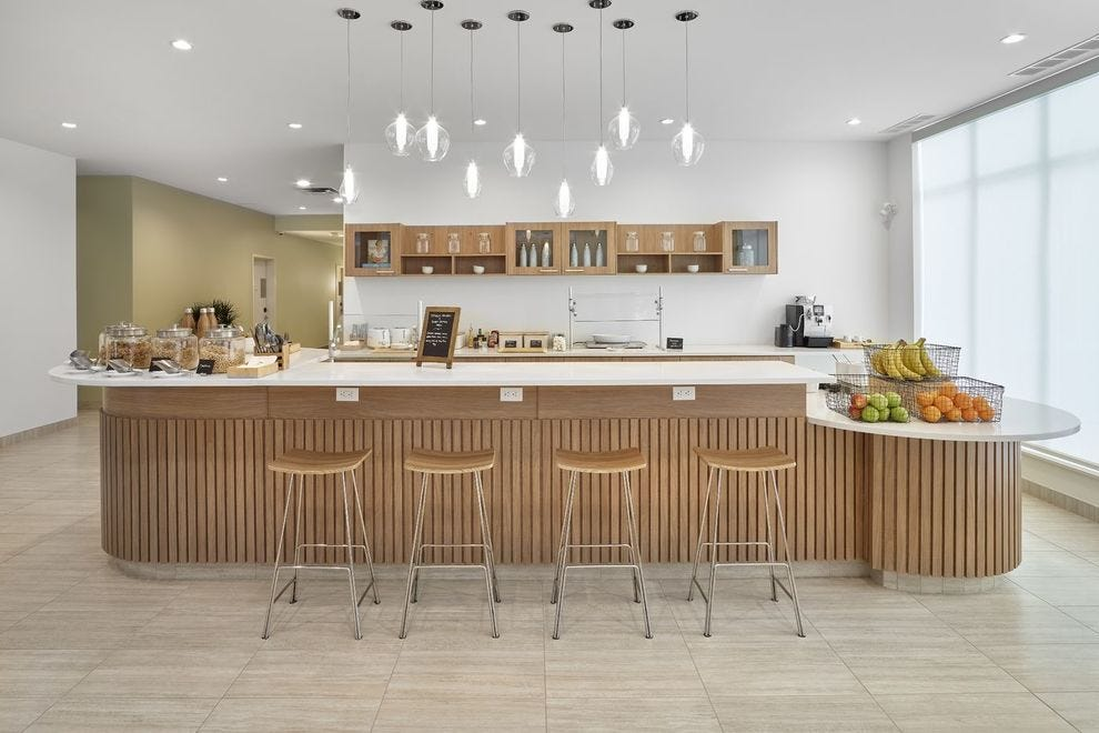 Element Edmonton West's beautiful breakfast bar helps facilitate longer stays