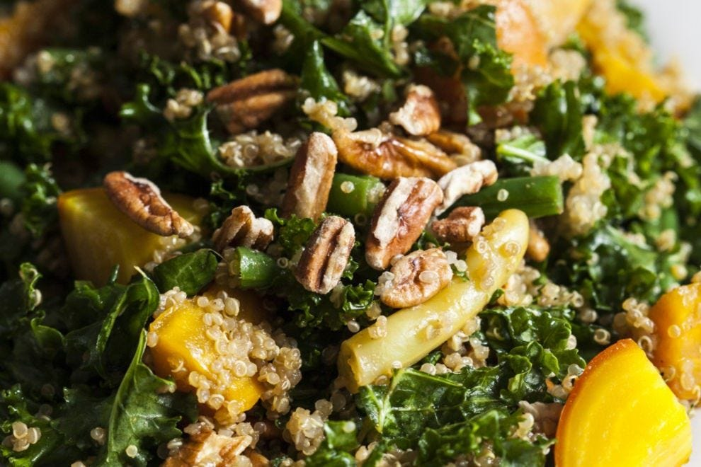 Golden beets add more than just color – they add the sweetness that makes this salad shine