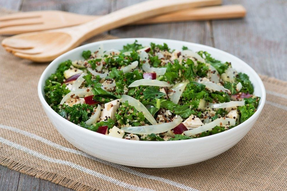 Kale and quinoa, two trendy ingredients, come together to make a delicious and nutritious salad
