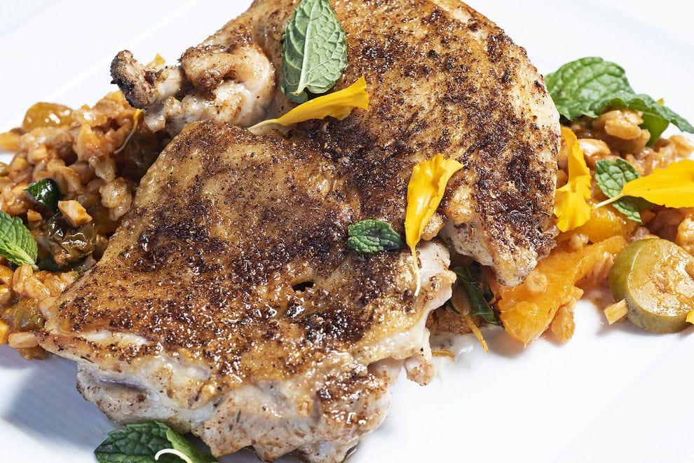 Arroyo Vino's bistro offerings include Moroccan spiced chicken