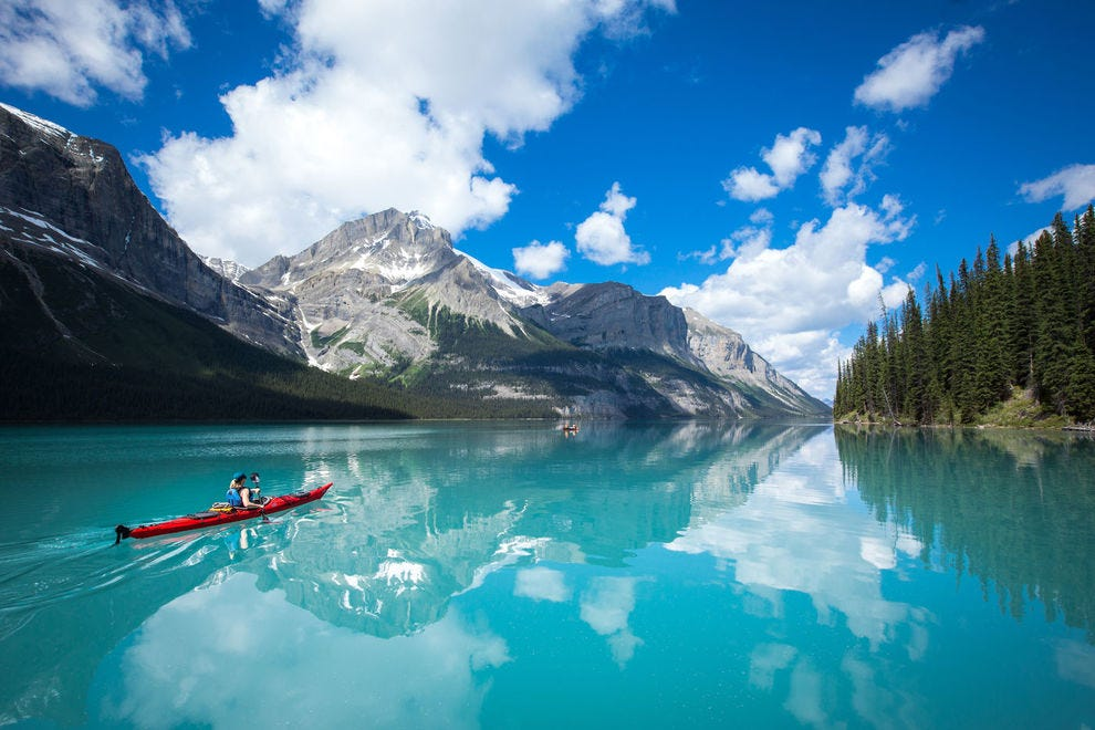 Kayaking Maligne Lake in Jasper National Park is merely one magical adventure awaiting in Alberta