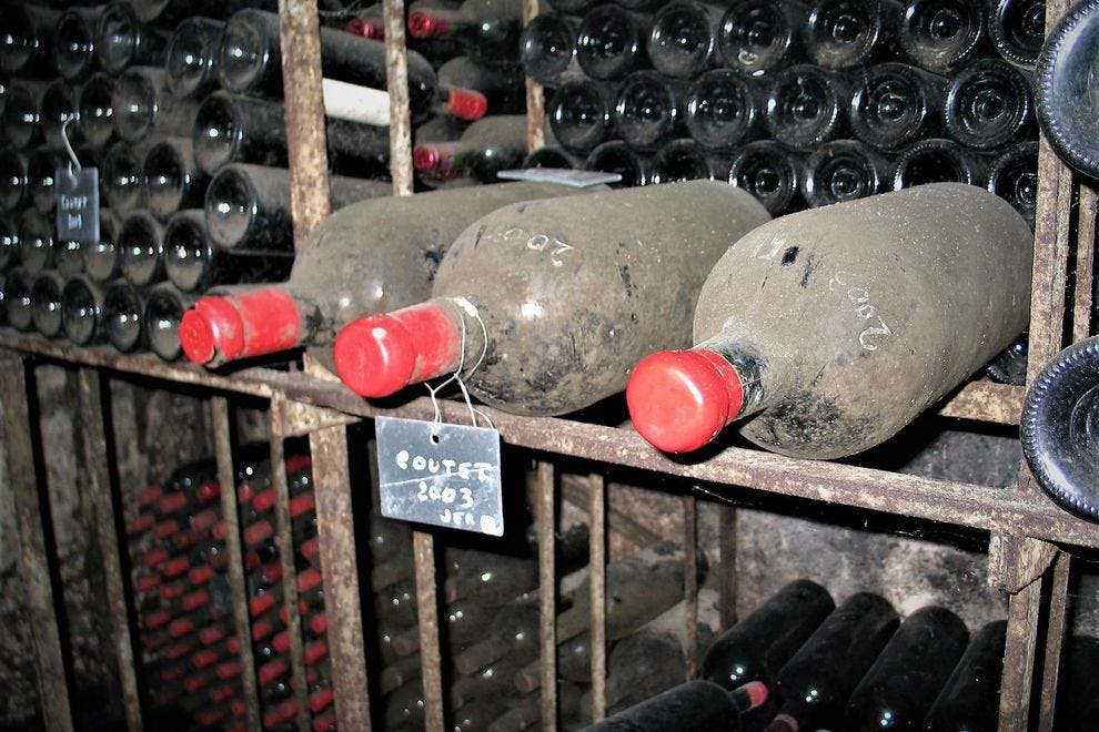 The wine library where older Chateau Coutet vintages peacefully repose in St.-Emilion