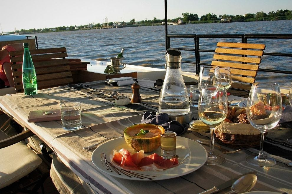 Exquisite gourmet meals served aboard the Tango throughout the luxury wine cruise