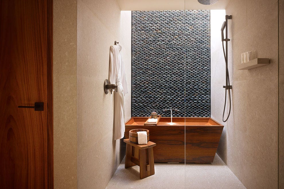 The beautiful Japanese bath and shower are in every room of the Nobu Hotel Los Cabos