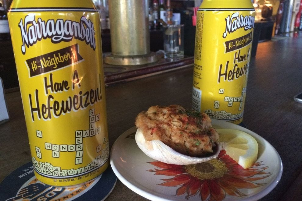 Narragansett beer and stuffed clams