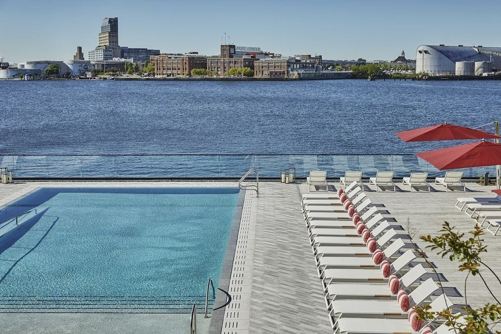 The beautiful pool at Sagamore Pendry Baltimore
