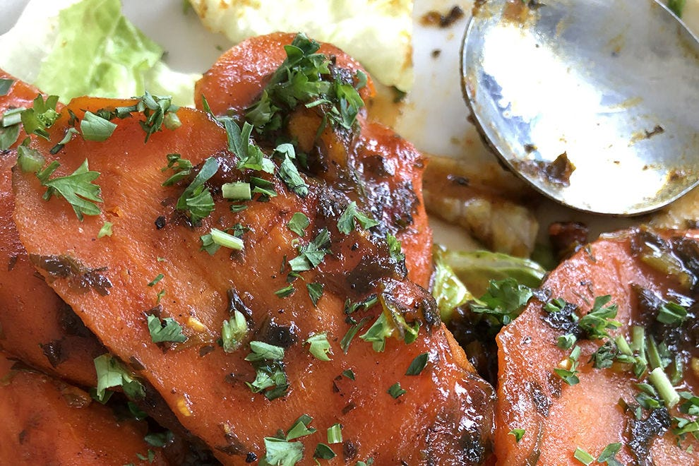 Spicy carrots highlight the sweet and savory flavors typical at Casablanca