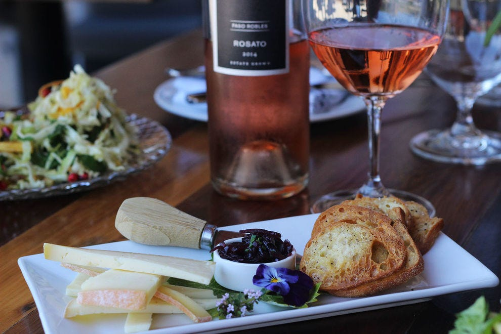 The menu at this winery restaurant highlights local ingredients