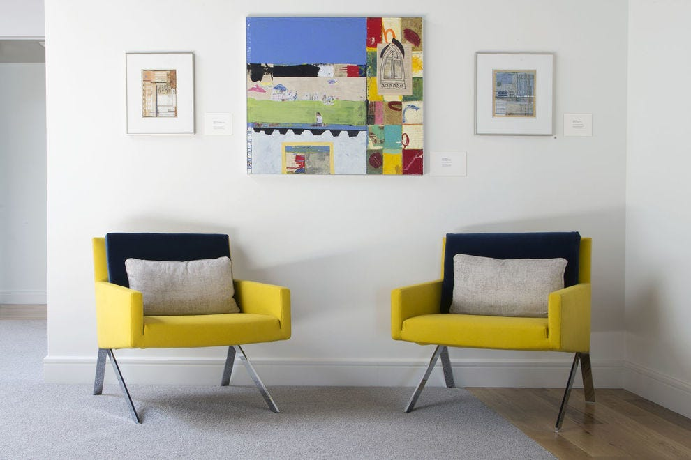 250 Main incorporates pops of color to accent the contemporary artwork on display