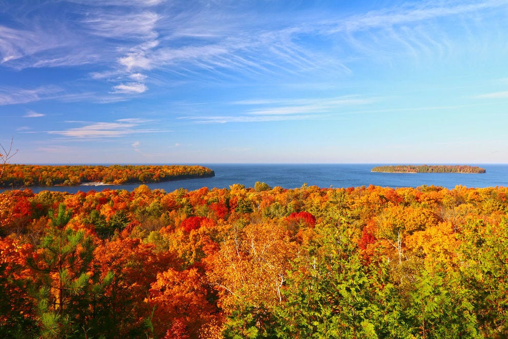 Door County foliage is at its best in late September and early October