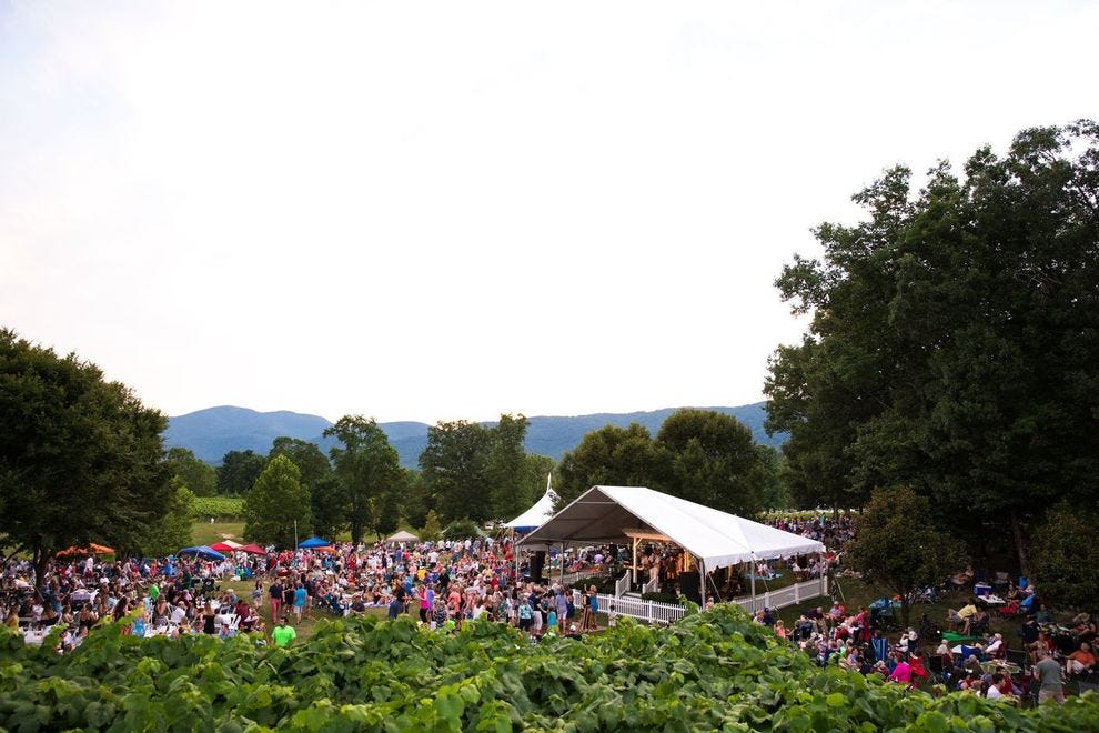Veritas Vineyard & Winery in Afton, Virginia offers Starry Nights and Summer Nights concerts.