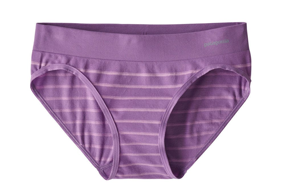 "Patagonia's active briefs come in bright patterns such as ""Sentinel Stripe Small: Pipe Purple"""