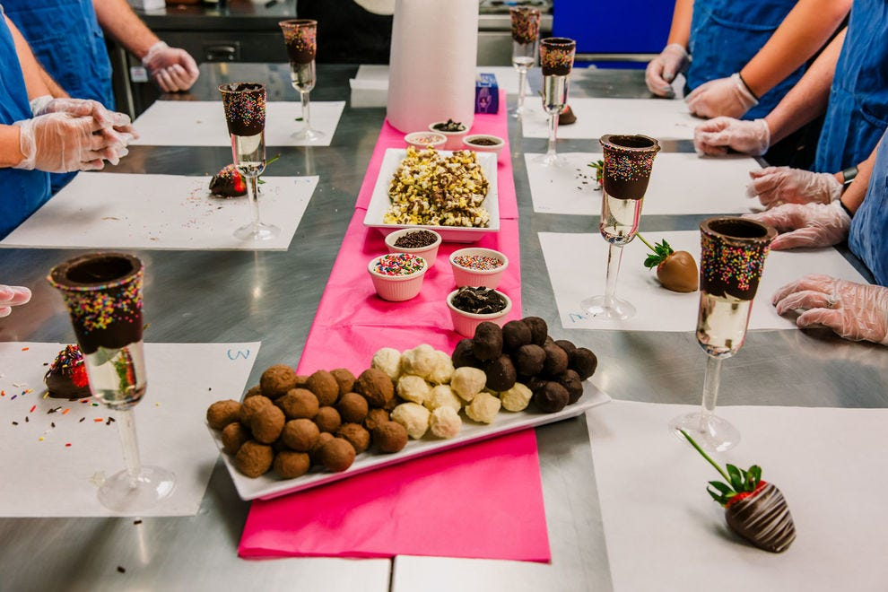One of the most popular chocolate events for bachelorette parties is the Truffles and Bubbles offering