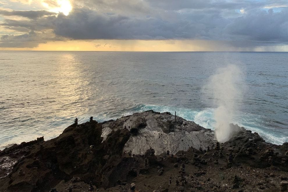 Hālona Blowhole at Sunrise
