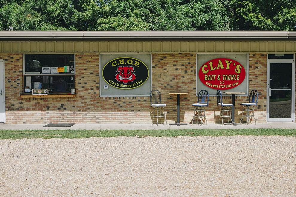 Clay's House of Pig is located in a bait shop