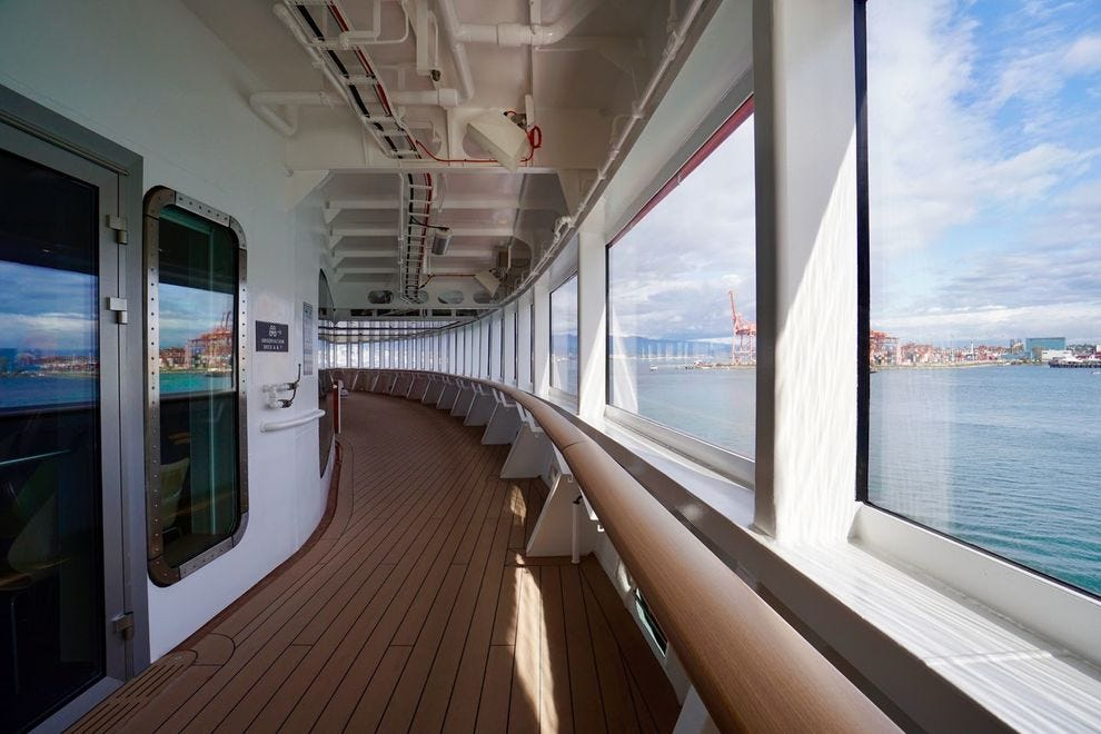 Wraparound observation deck at the bow of Hurtigruten's Roald Amundsen