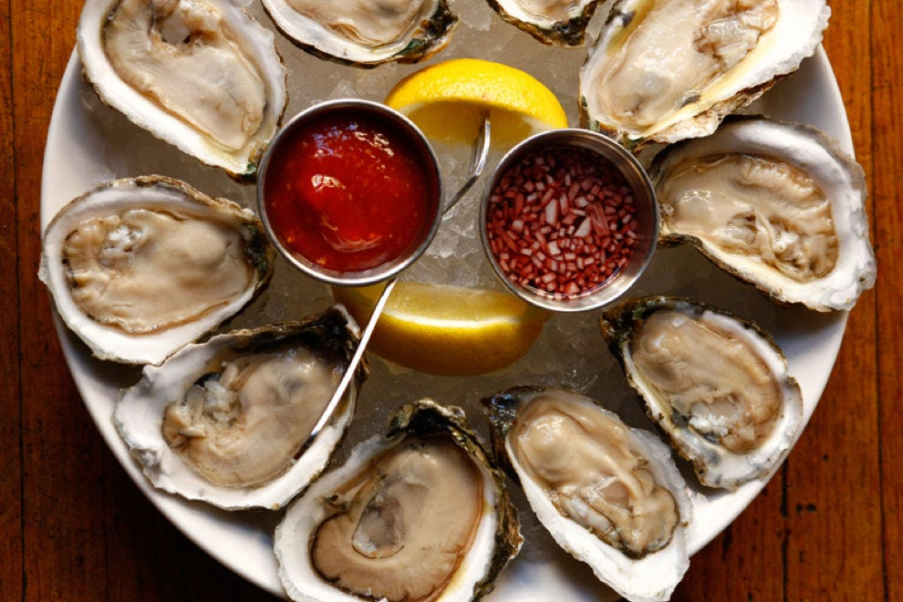 Freshly shucked oysters on the half shell at Sansom Street Oyster House