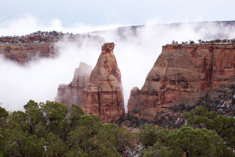 Misty monoliths in Colorado National Monument