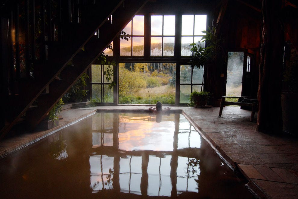 Soak in a restored 19th-century bathhouse at Dunton Hot Springs