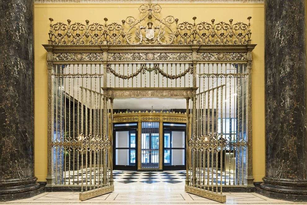You can certainly tell this hotel used to be a bank with its grand gates