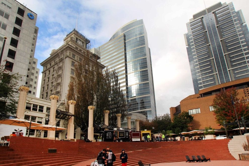 Pioneer Courthouse Square is a gathering place