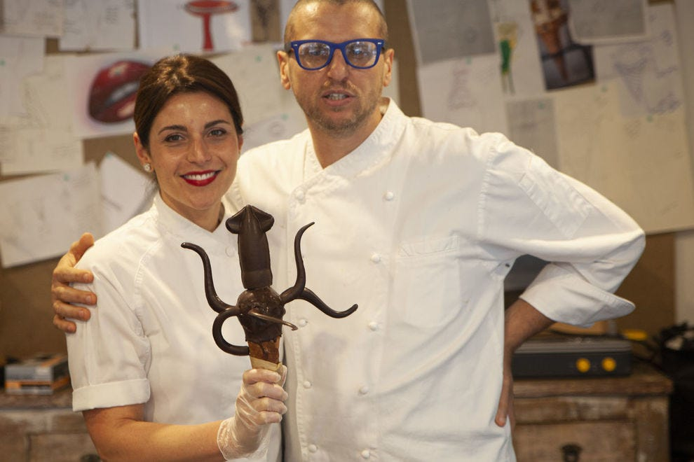 Giapo and Annarosa Grazioli with their ice cream sculpture of the colossal squid