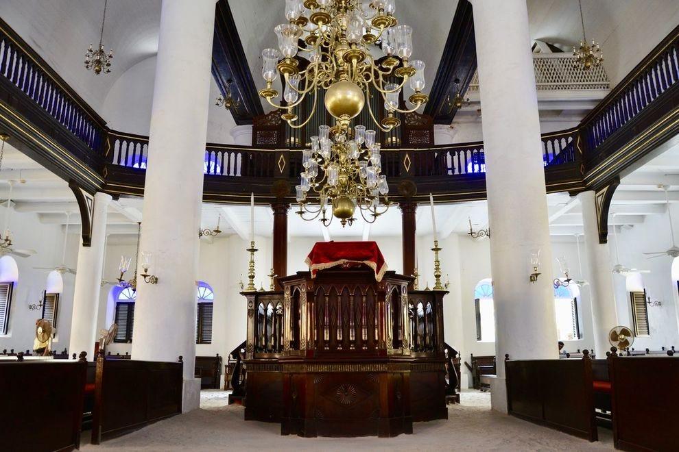 Inside Mikvé Israel-Emanuel, a sand-floor synagogue in Curacao's capital