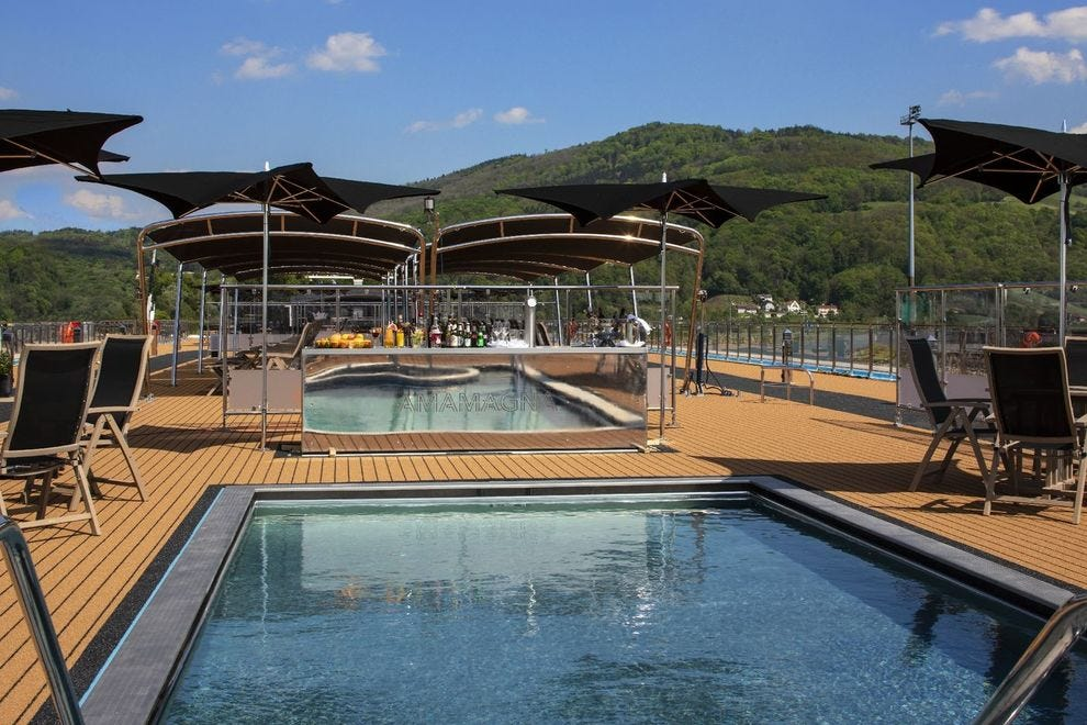 AmaMagna's accessible sun deck features a heated swimming pool and hot tub