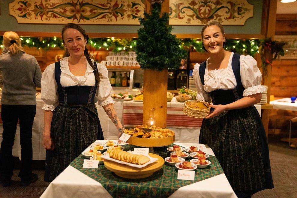 Servers in traditional costume at Al Johnson's Swedish Restaurant