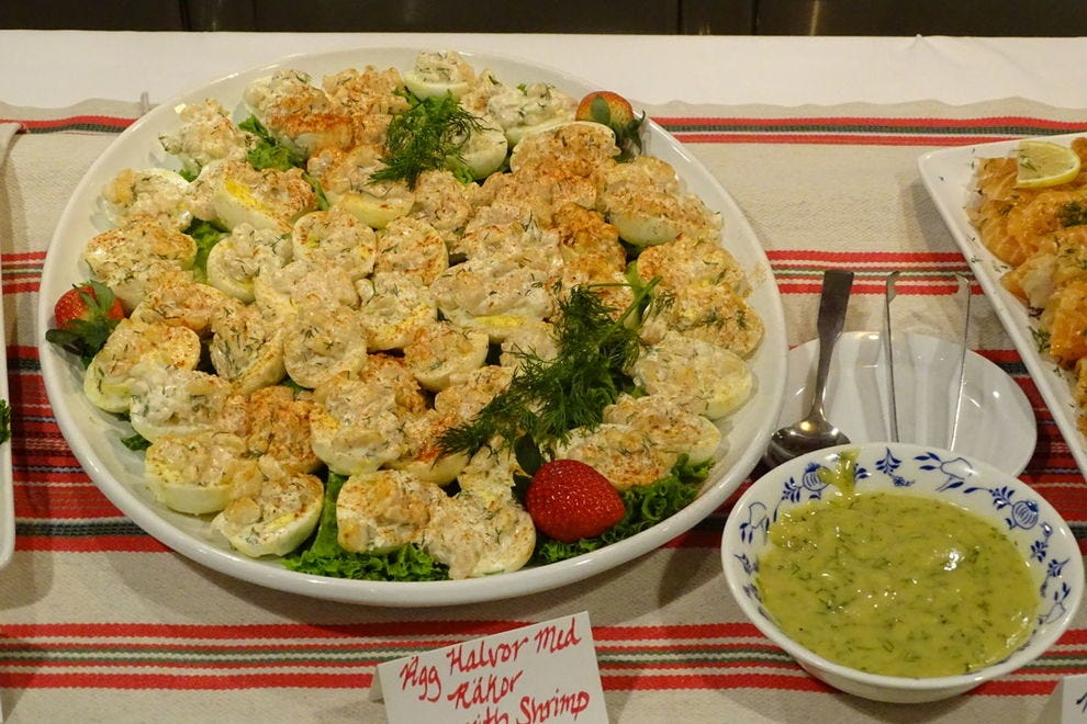 Deviled eggs with shrimp, a traditional Swedish dish