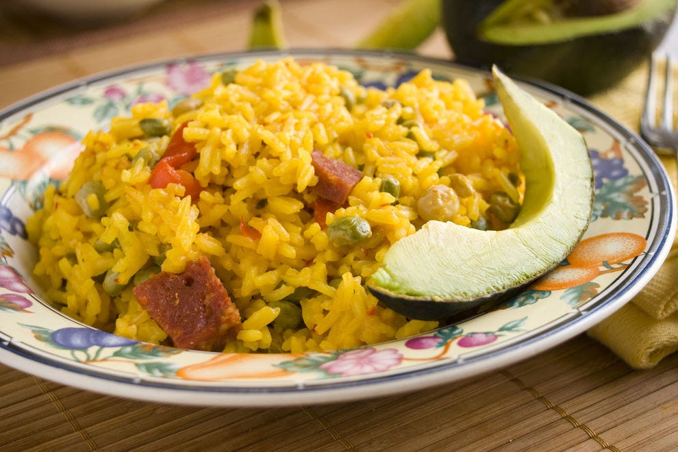 Arroz con gandules pairs wonderfully with roasted pork