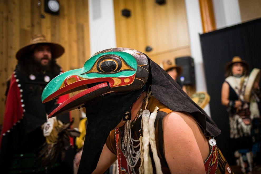 The Dakhká Khwáan Dancers, an award-winning Inland Tlingit dance group, performs in Whitehorse