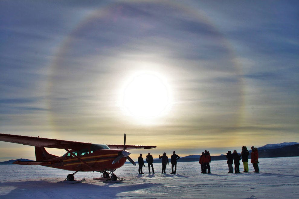 A sundog appears during a daytime flight