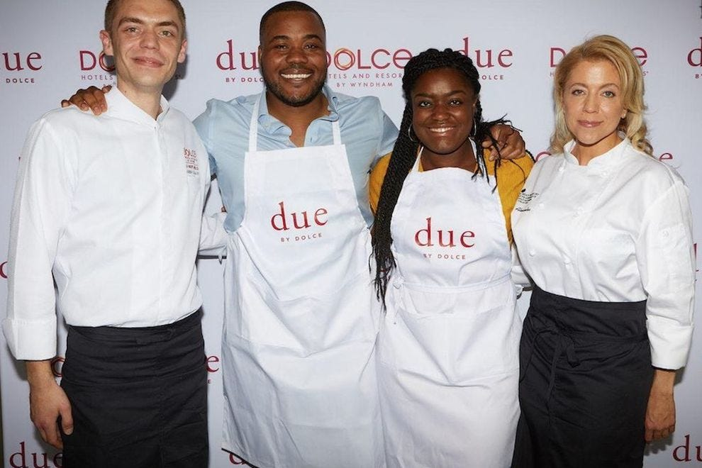 Chef Adrien Clauwaert, Selasi Gbormittah, Benjamina Ebuehi and Chef Aleece Alexander at the Due by Dolce Biscotti Bake Off