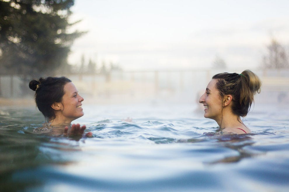 Visitors unwind in the healing waters of Takhini Hot Springs