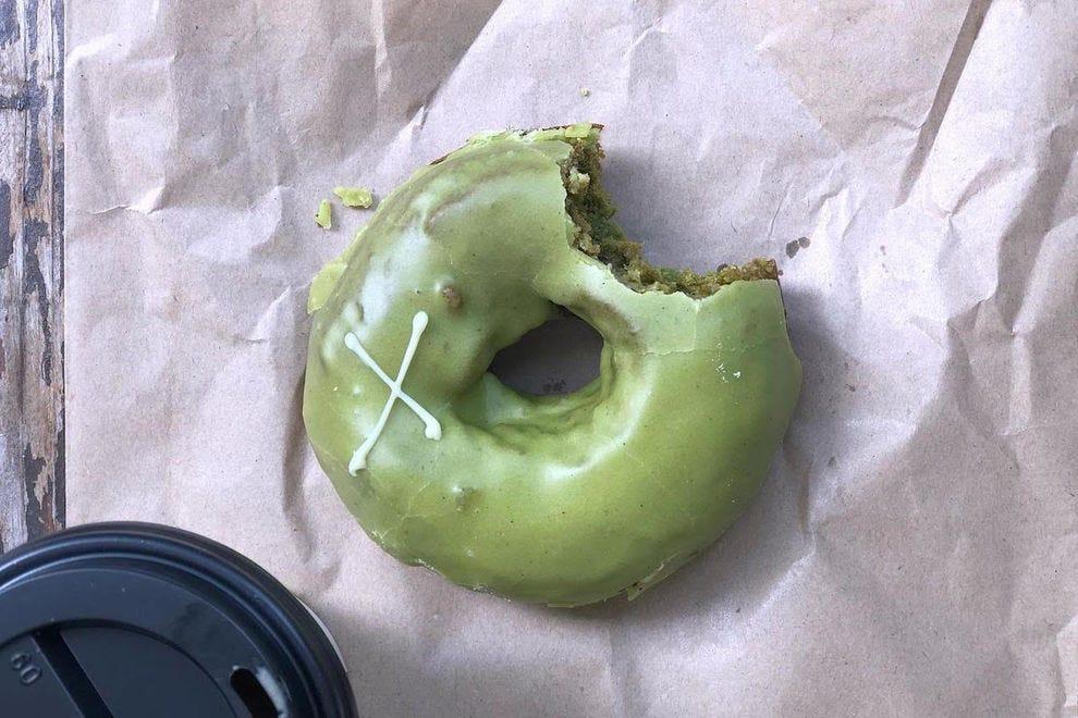 Matcha cake doughnut from Crosstown Doughnuts
