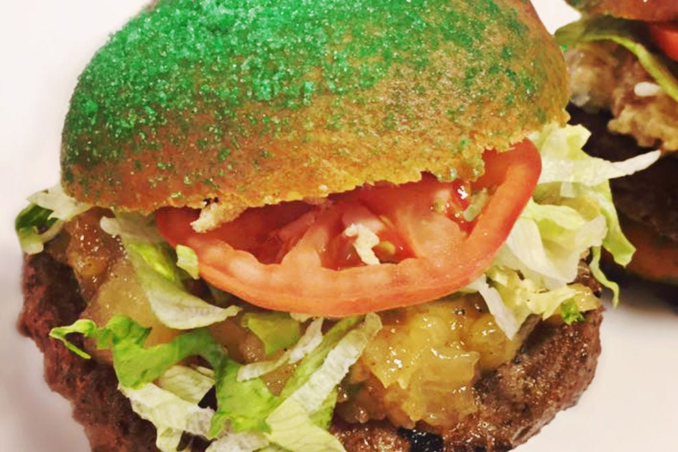 King cake hamburger buns can be found at the Superdome or Smoothie King Center
