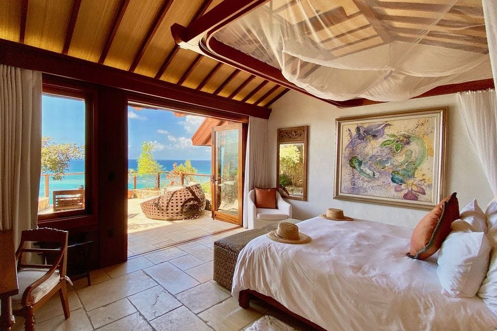 A guest room in the Great House on Necker Island