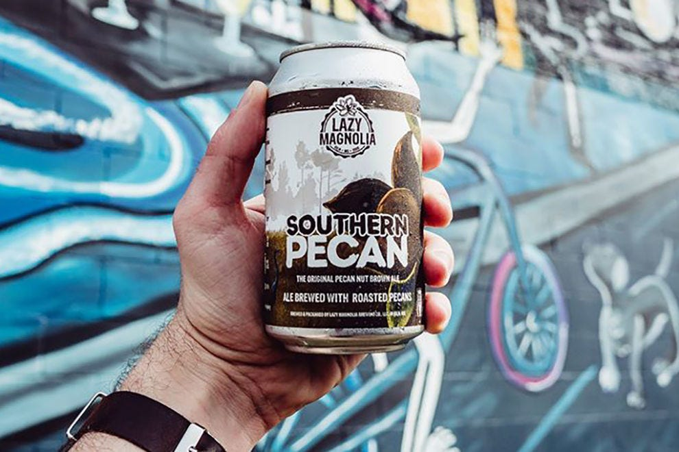 Southern Pecan brewed by Lazy Magnolia Brewing is a favorite among locals in Kiln, Mississippi