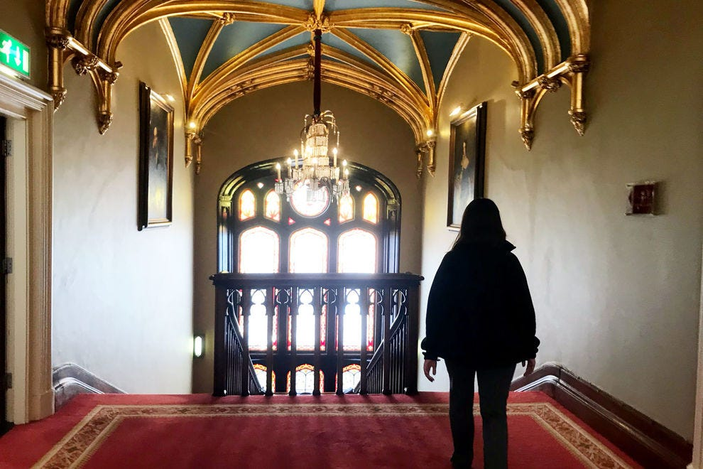 Walking the grand hallways at Dromoland Castle