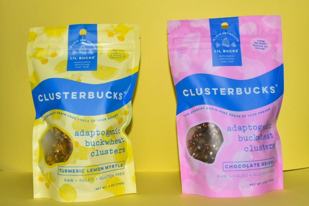Clusterbucks in Turmeric Lemon Myrtle and Chocolate Reishi Flavors