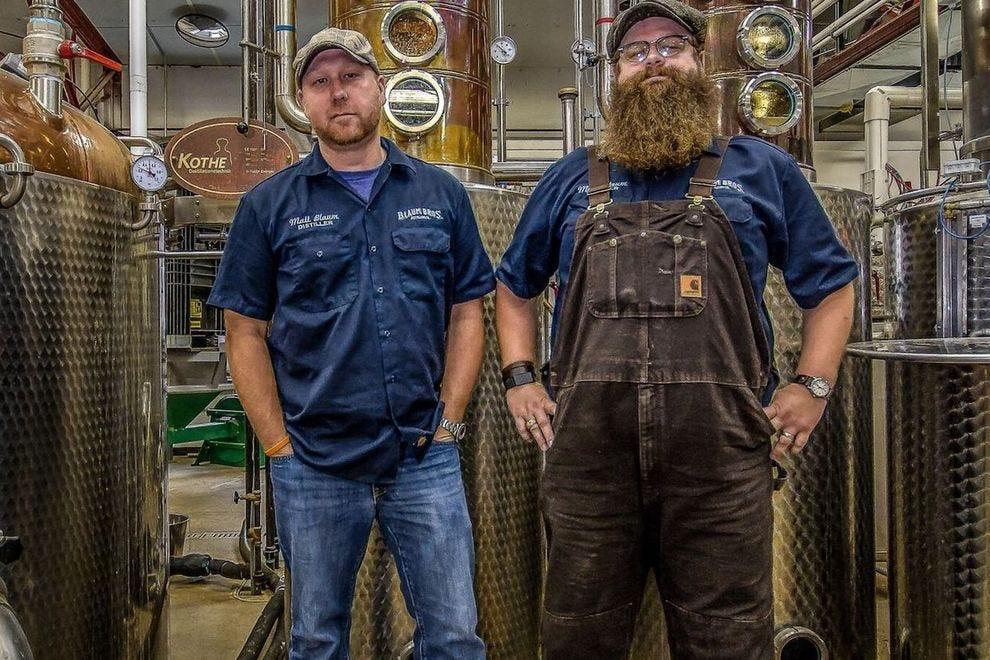 Matt and Mike Blaum in the distillery