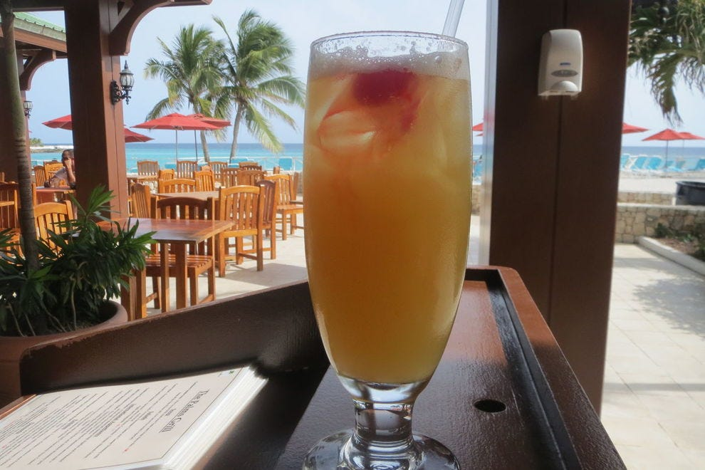 Bomb Rush is a fruity melange popular at the Sonesta Maho Beach Resort and Sonesta Ocean Point in Sint Maarten