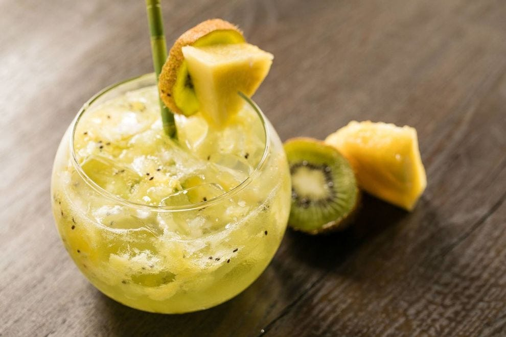 Kiwi Frizz is a bubbly thirst quencher poured at the Sand Bar and Elements Restaurant at the Bucuti & Tara Beach Resort in Aruba
